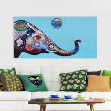 HDARTISAN Wall Art Canvas Painting Animal Picture Colorful Elephant Balloon Poster Print Home Decor No Frame