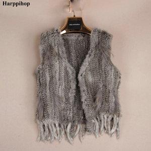 Image 5 - Harppihop*Knit knitted handmade Rabbit fur vest gilet sleeveless garment waistcoat
