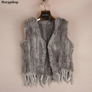 Image 5 - Harppihop * לסרוג סרוג בעבודת יד ארנב פרווה vest gilet שרוולים בגד חזייה
