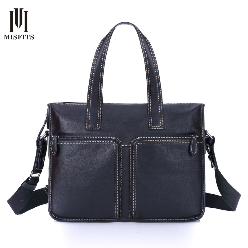 MISFITS Men Genuine Leather Briefcase Male Retro Handbag Fashion Business Cowhide Messenger Bag Laptop 15 inch Tote Bags NZ4078 genuine leather men briefcase business male fashion laptop handbag messenger bag men leather brand crossbody shoulder tote bags