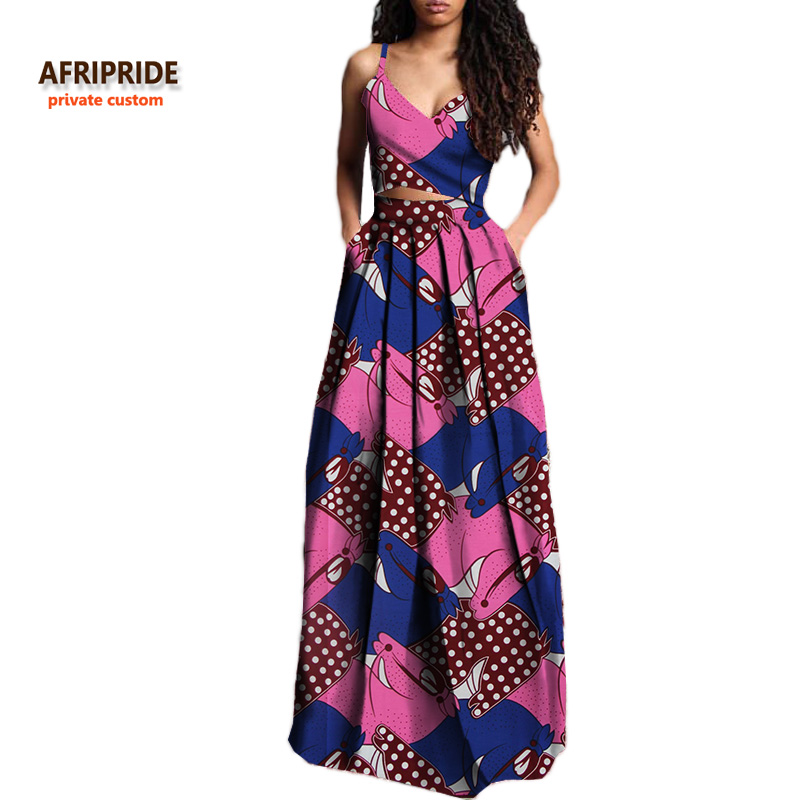 2018 summer suit for women AFRIPRIDE private custom short sleeveless top+long pleated skirt plus size pure wax cotton  A722629