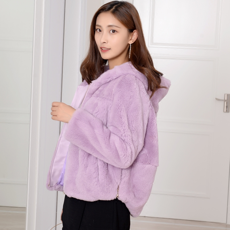 Loose Fit Natural Rex Rabbit Fur Coats Outerwear Women Hooded Curve Shape Waist Zip Up Real Fur Jackets Plus Size Autumn Winter