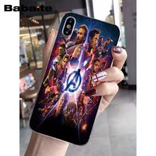 Babaite Marvel Super heroes Avengers TPU Transparent Phone Case Cover Shell for iPhone 6S 6plus 7 7plus 8 8Plus X Xs MAX 5 5S XR