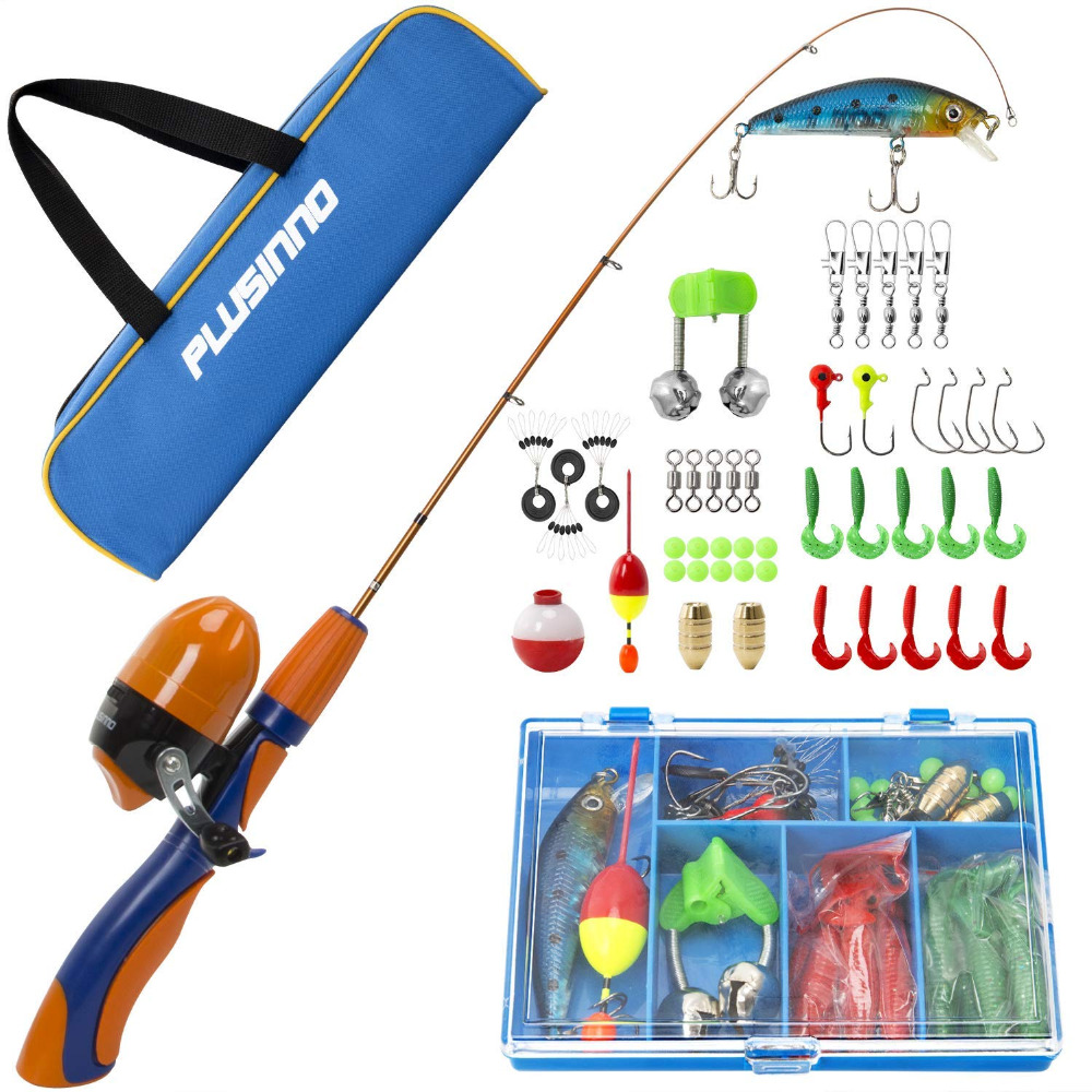 Poteau de pêche pour enfants PLUSINNO, canne à pêche télescopique Portable et Kits complets de moulinet, engins de pêche pour jeunes Spincast pour enfants - 6