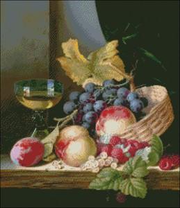 Image 2 - Haft Counted Cross zestaw do szycia robótki rzemiosła 14 ct DMC DIY sztuki ręcznie Decor kosz z brzoskwiń i winogron