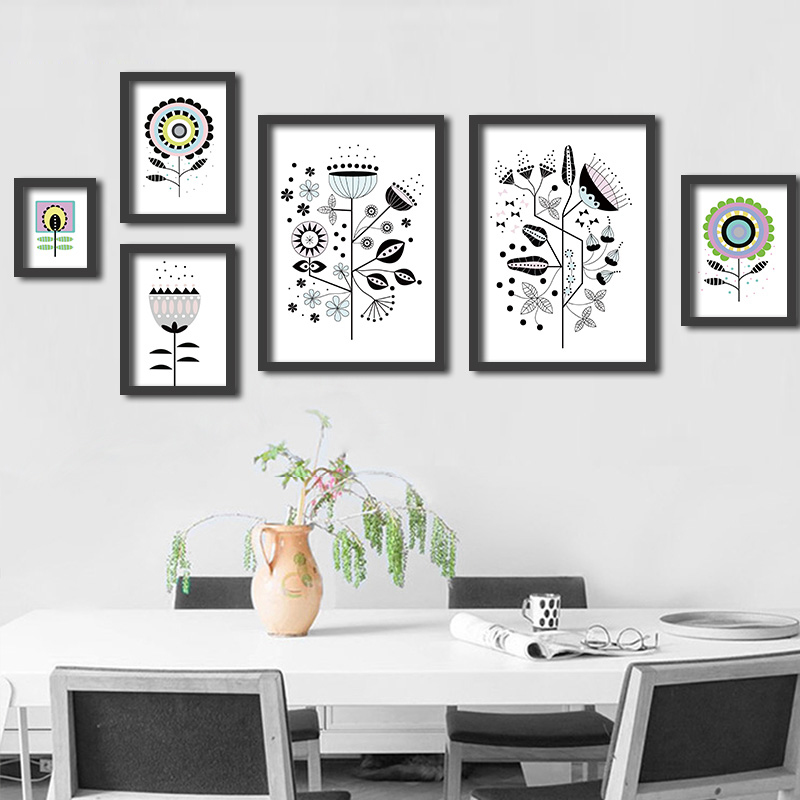 modern minimalist black white plant sunflower flower photo a4 big art prints poster wall picture canvas painting no frame home