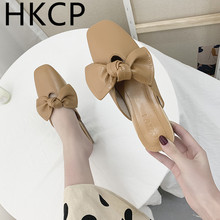 HKCP Fashion women 2019 spring new Korean sweet bow baotou half drag leisure loafers shoes muller C188