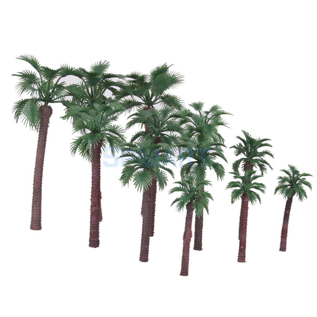 12pcs Serious Play Model Palm Trees Railway Railroad Scenery Plastic Tree