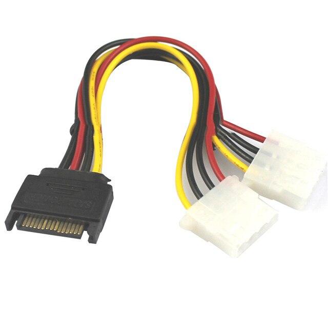 15 Pin SATA Male to 2 Female 4 Pin Molex Female IDE HDD Power  usb sata cable usb riser card rj45 connector dvi-d vga dual psu