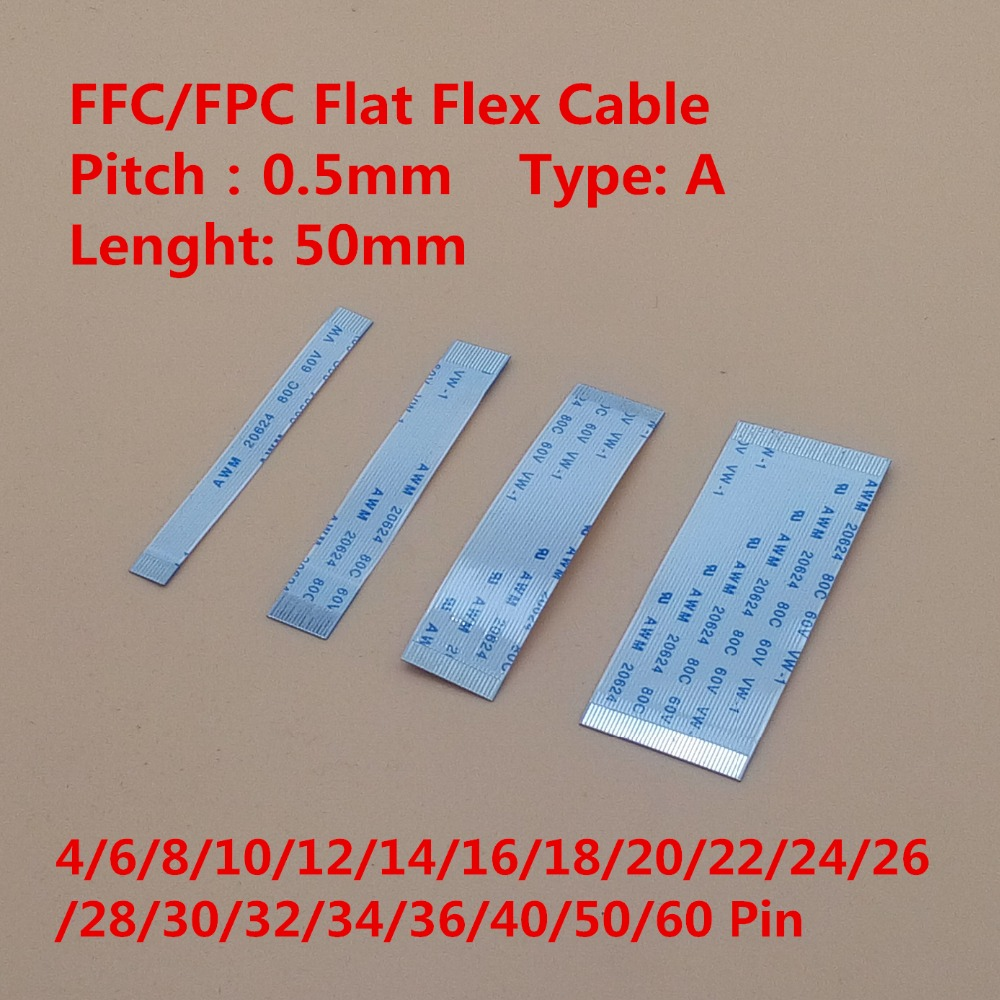 Плоский гибкий кабель FFC/FPC, 10 шт., 5 см, 4/6/8/10/12/14/16/18/20/22/24/26/28-60 контактов с той же стороны, шаг 0,5 мм AWM 20624 20798 80C 60V