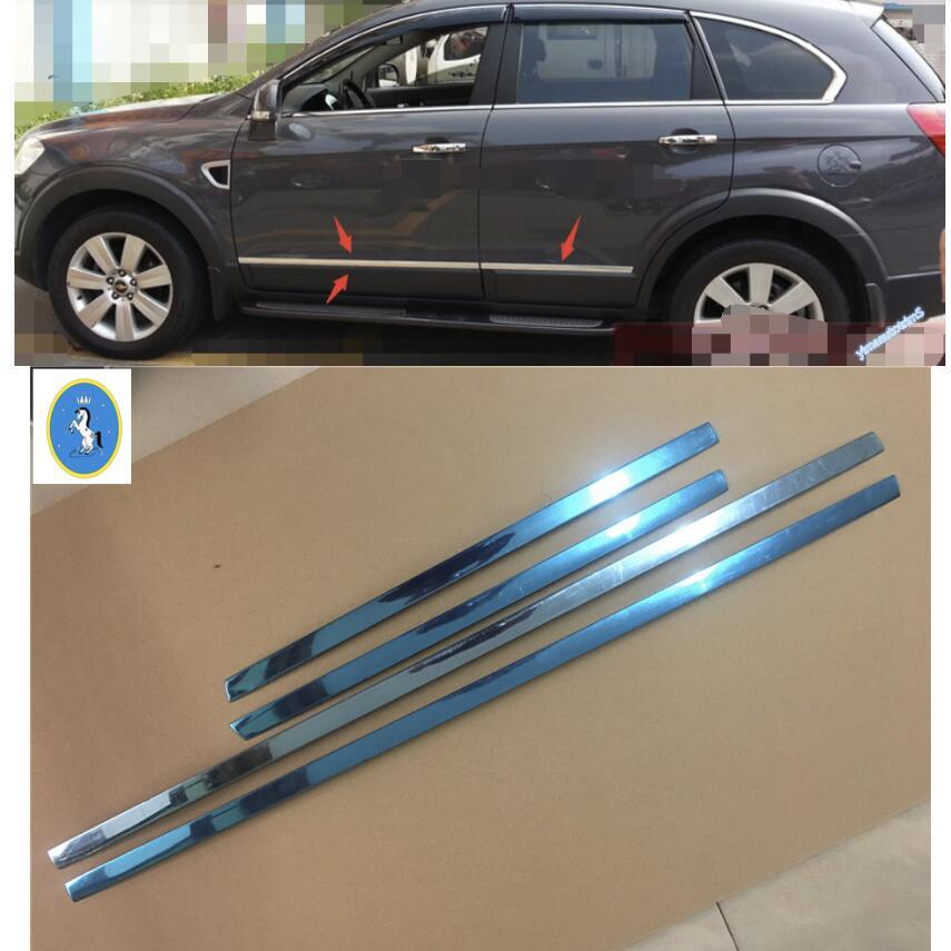 Lapetus Stainless Steel Car Door Body Molding Bezel Protector Cover Trim Accessories For Chevrolet Holden Captiva 2012 - 2015