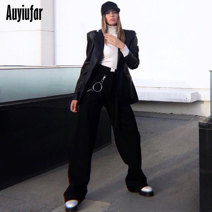 Auyiufar Streetwear Women's Flare   Pants     Wide     Leg     Pants   2019 Casual High Waist Loose Solid Plus Size Female Black Flare   Pants