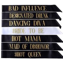 7 шт./компл. баскетбольные ленты невесты быть створки Свадебные украшения для девичников поставки сувениры короткие queen Hot Mama