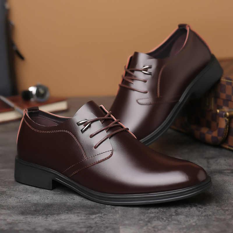 Мужские деловые туфли merkmak, кожаные туфли на низком каблуке с закругленным носком, Прямая поставка, 2019