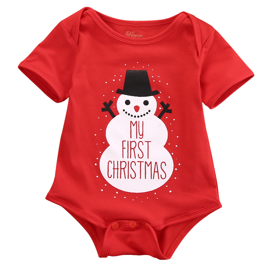 1e66a51a420 Lovely Newborn Infant Red Baby Kid Boys Girls Snowmen My First Christmas  Romper Jumpsuit Outfits Costume