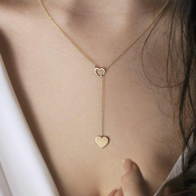 Ladies Small Gold Chain Clavicle Necklace Fashion New Personality Peach Heart Long Pendant Women S Y Shaped Necklace Jewelry Aliexpress