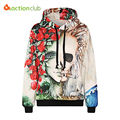 ACTIONCLUB 2017 New Fashion mens hoodies and sweatshirts 3d flower print rose smoking skull Hip Hop Coats Casual Sportswear Tops