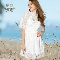 Menor precio de descuento promoción Hollow encaje vestido de la manera marca Slim manga corta vestido de encaje de cintura alta wj471 envío libre