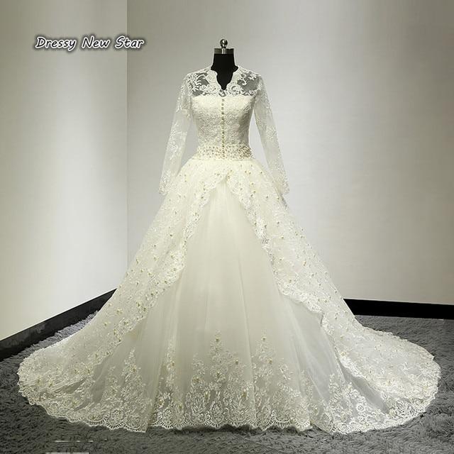 Luxus Gericht Hochzeit Kleid Hohe Qualität Spitze mit Perlen Perlen ...