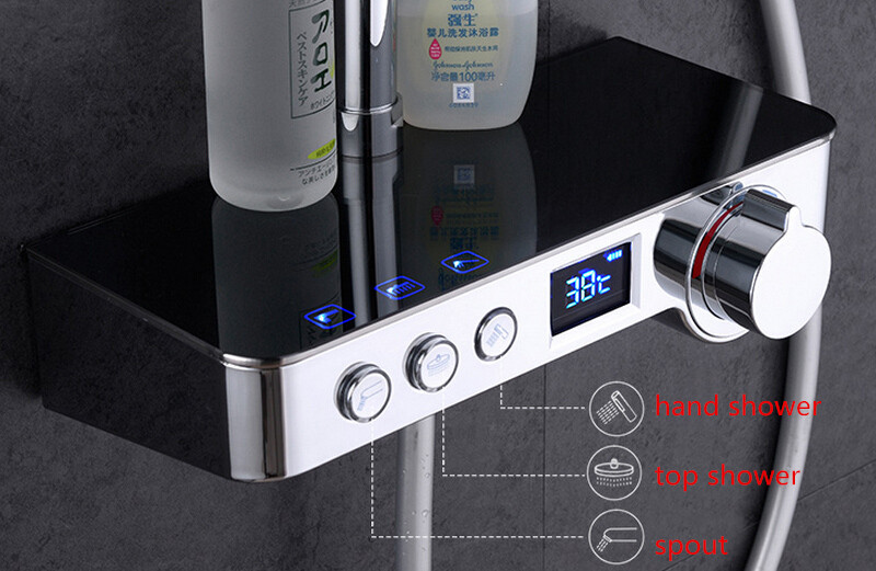 Free shipping digital Shower Mixer with Display Bath Shower Faucet System Wall Mount Mixer Digital Display Shower valve IS999