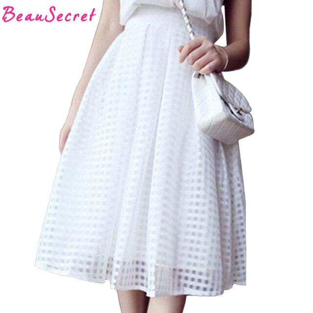 Femmes d'été casual longue jupe taille haute plissée à carreaux jupes femmes tutu jupe marque faldas blanc noir