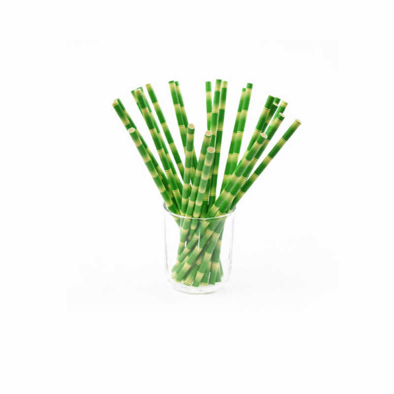 25PCs/ Lot Green Bambo Design Paper Straws For Birthday Wedding Decorative Festival Party Event Supplies Drinking Straws