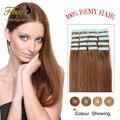 Лента в выдвижений человеческих волос 20 шт. полный хвост Бразильский девственные волосы ленты в человеческих волос cabelo humano fita adesiva