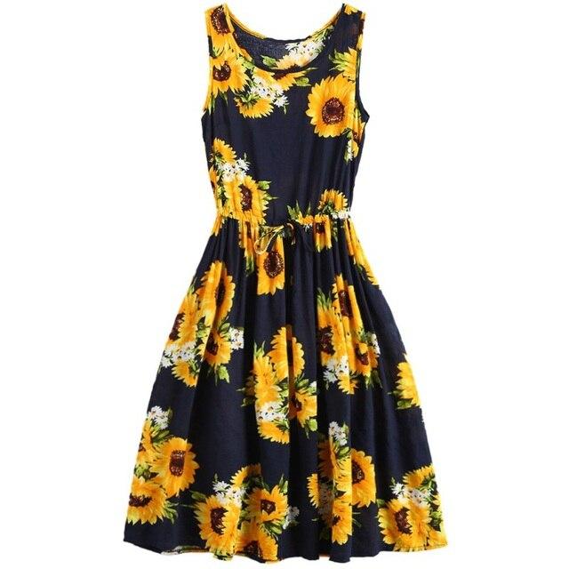 46f3d0ef869c A-Line Dress sunflower Printed High Waist Sleeveless Tank Dresses For Women  Bohemian Beach Holiday