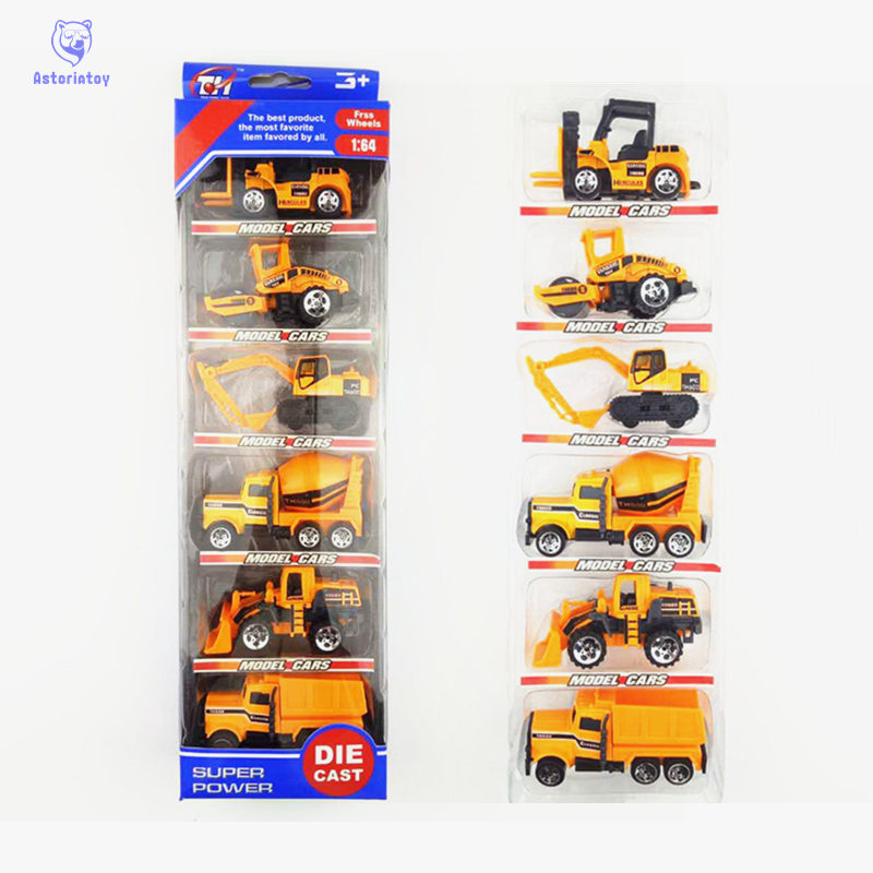1:64 6Pcs Engineering Vehicle Kids Mini Car Toys Lot Vehicle Sets Educational Toys pltsic Engineering Vehicle Model Toys
