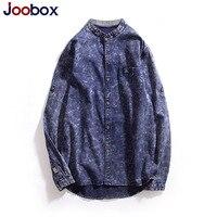 Joobox Brand Mens Long Sleeve Shirt Cotton Striped Mandarin Collar Shirts For Men Spring Autumn Quality