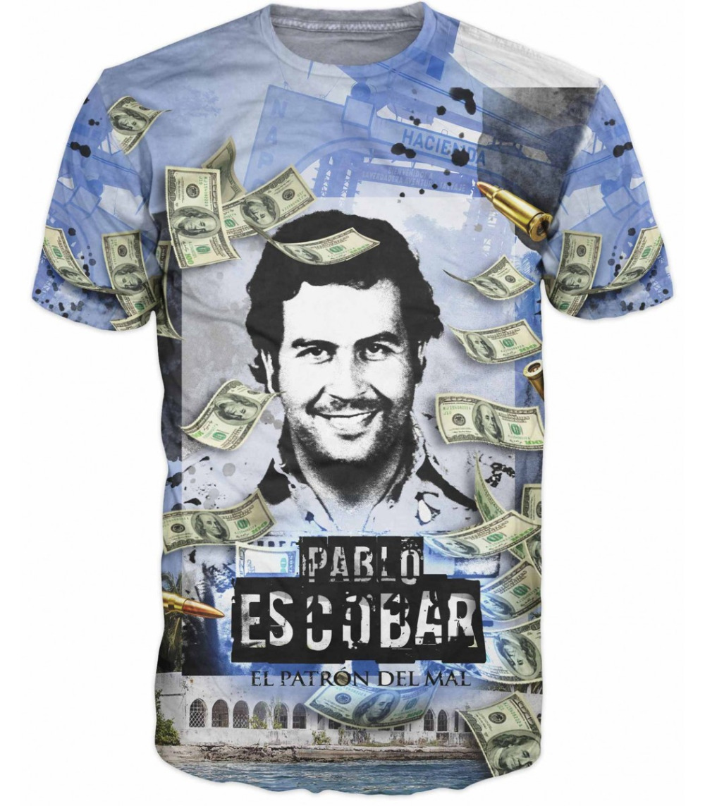 2018 PABLO ESCOBAR  3D Printed Tee  T Shirts Good Quality  Hip Hop  Harajuku Famous T Shirt