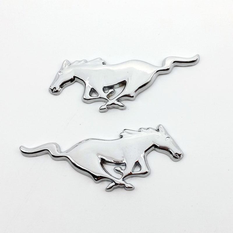 3D Chrome Metal Running Horse Sticker Emblem Badge Silver Car Tail Body Decoration Accessories fashionable bat style 3d car decoration sticker silver