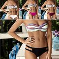 Women Summer Sexy Multicolor Striped Strapless Set Bathing Suit 09WG