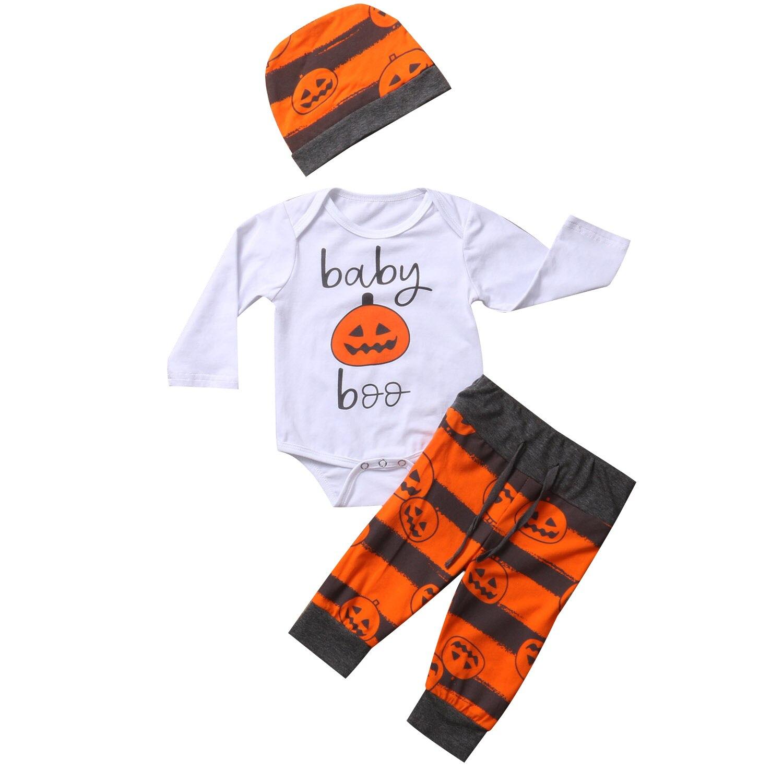 Pudcoco 3Pcs/Set Newborn Baby Boys Girls Clothes Long Sleeve Romper+Long Pants+Hat Outfits Cute Pumpkin Baby Set