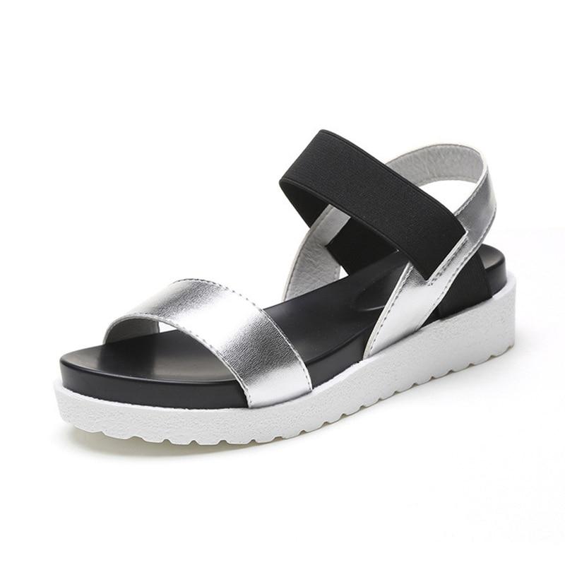Zapatos de verano Sandalias de estilo las mujeres Peep-Toe Sandalias planas Sandalias romanas negro zapatos de mujer señoras Flip Flops calzado tamaño 9