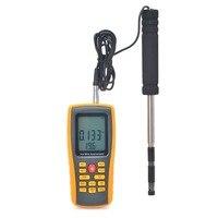 Горячие Провода цифровой анемометр ветер Скорость/воздушный поток/Температура метр измерения 0 ~ 30 м/с с USB Интерфейс и тонкий Сенсор gm8903