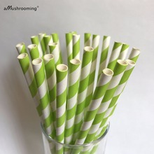 25 Apple Green Paper Straws Striped Retro Vintage Style Carnival Circus Wedding Birthday Bridal Baby Shower Ready to Ship