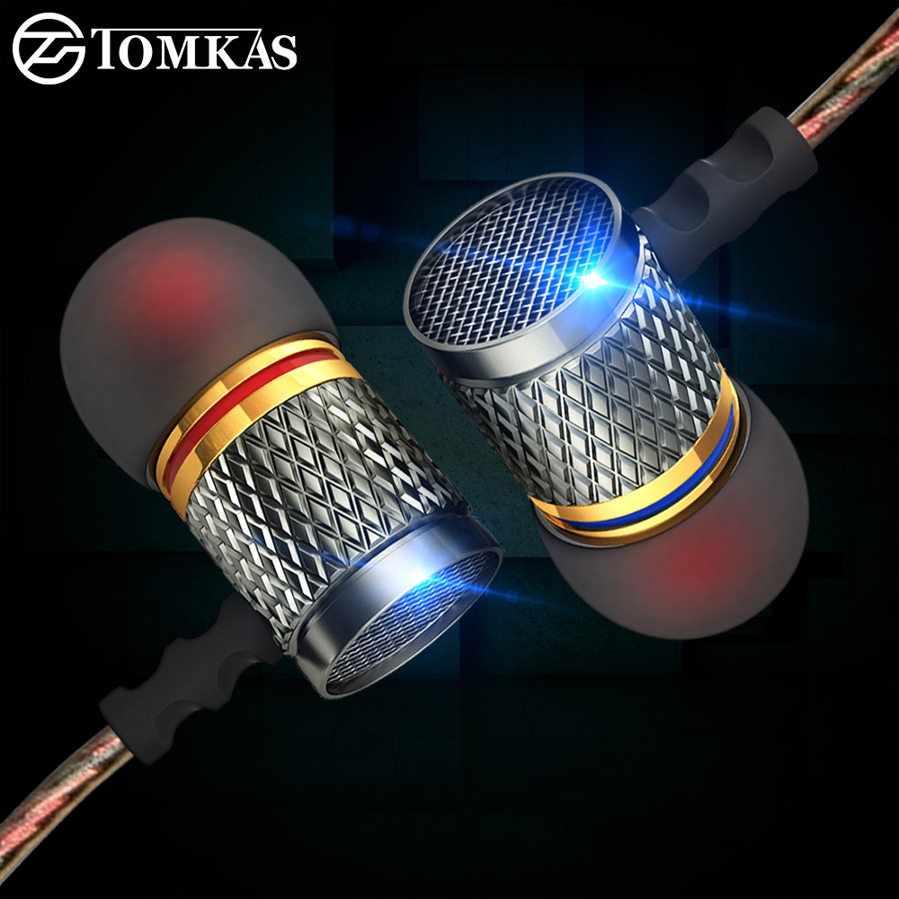 TOMKAS Earphone And Headphone Metal Heavy Bass Earphone For Phone For Metal PC With Microphone Sound Quality Music Headset cafele professional in ear earphone metal heavy bass high fidelity sound quality music earphone with microphone for mobile phone