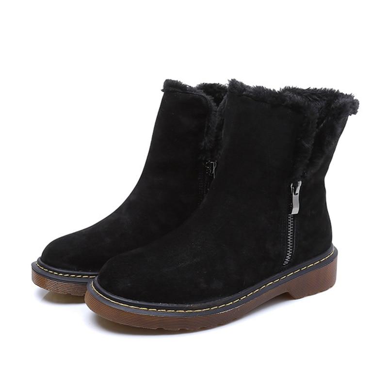 Tobillo Nieve A242 Gruesa Genuino Antideslizante Cuero De Del Marca Señoras Beige Cremallera Zapatos Mujeres Invierno Las Suela Cálido Botas negro 2018 UwEPqTE