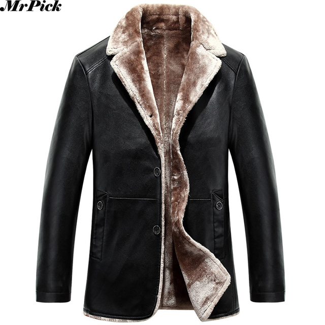 00fd38ceb1c0 New Men Fur Collar PU Leather Jacket Fashion Warm Snow Motorcycle Russia Cold  Weather Coats E0716-001