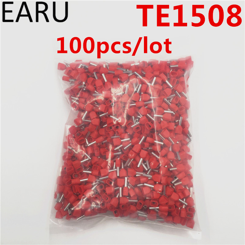 100PCS E Tube TE1508 Type Double Pipe Insulated Twin Cord Cold-press Terminal Block Connector Needle End Multicolor 2X1.5 mm2 contrast lace applique t shirt