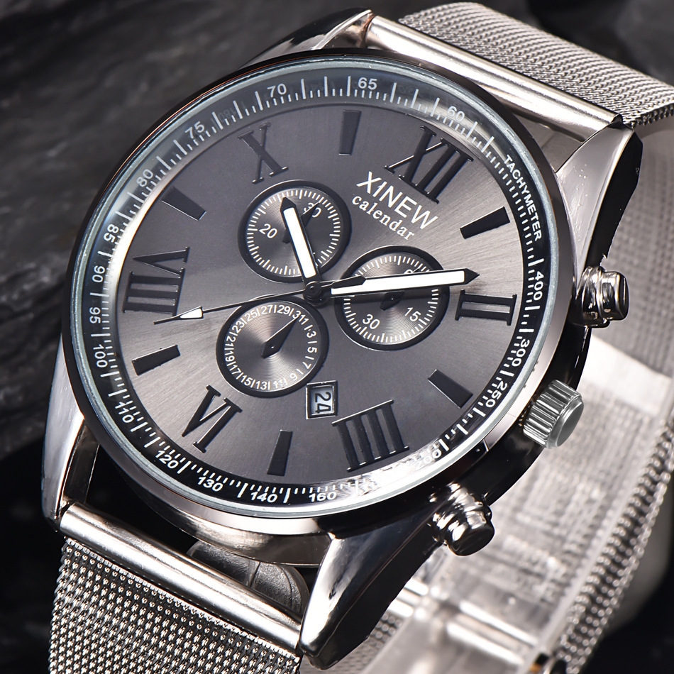 2019 Fake Three eye Stainless Steel Watches Men 39 s Scale Dial Casual Fashion Exquisite Precision High end Quartz in Quartz Watches from Watches