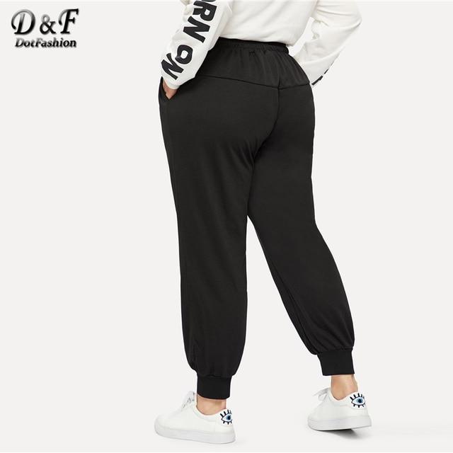 Dotfashion Plus Size Black Drawstring Waist Solid Pants Women Casual Streetwear Sweatpants 2019 Autumn Fashion Long Trousers 1