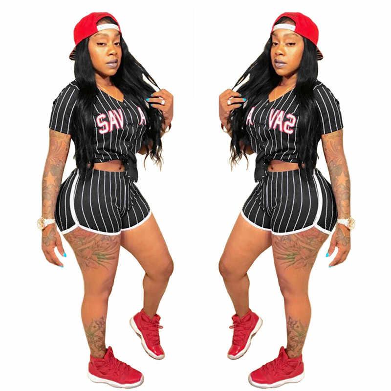 2 点セット女性の夏ルース手紙シャツショートパンツスポーツスーツ女性のためのカジュアル汗スーツストリート卸売ドロップシッピング