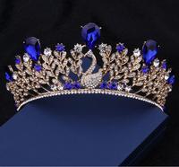 New Arrival Magnificent Blue Rhinestone Princess Tiaras Fashion Golden Peacock Diadem For Bride Wedding Hair Jewelry