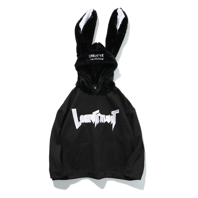 2017 Winter Men Unique Design Flannel Rabbit Ears Hoodies Male Oversized Letter Embroidery Casual Pullover Couple Streetwear rabbit print pullover