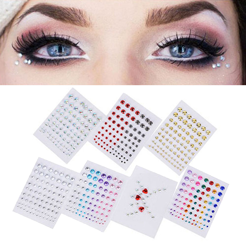 Party Music Festival Eyes Diamond Jewel Crystal Eyes Face Sticker Makeup Eyeliner Eyeshadow Tattoo Glitter Perform Makeup Tool