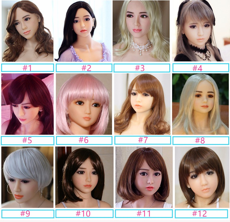 Real Silicone realistic mouth Oral Sex doll head for men adult sex love doll head with wig
