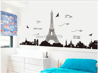 Love In Paris Eiffel Towel Wall Stickers Home Decor For Bedroom Living Room Romantic Elegant Wedding