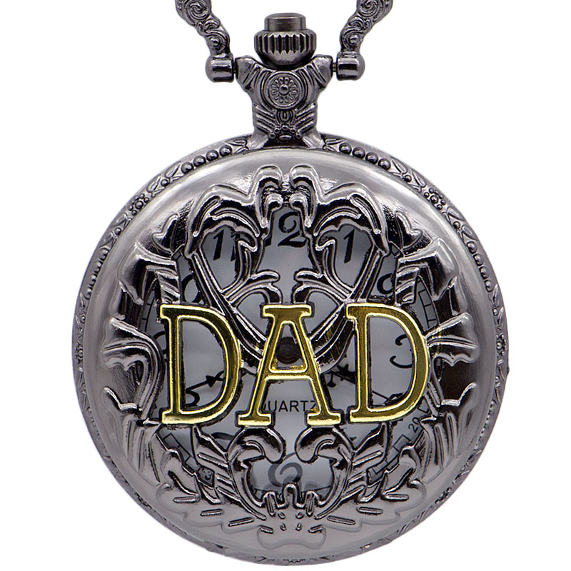 Best Selling Steampunk Hollow Dad Quartz Pocket Watches Fob Chain Pendant Necklace Men Women Father Best Gift CF1012